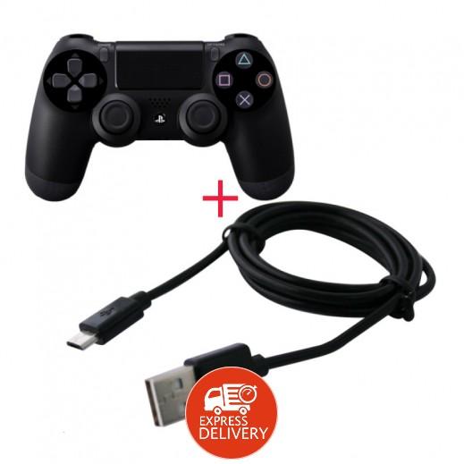 سوني - يد التحكم اللاسلكية Dualshock 4 + كيبل شحن يد التحكم اللاسلكية لبلاي ستيشن 4 ( عرض خاص )