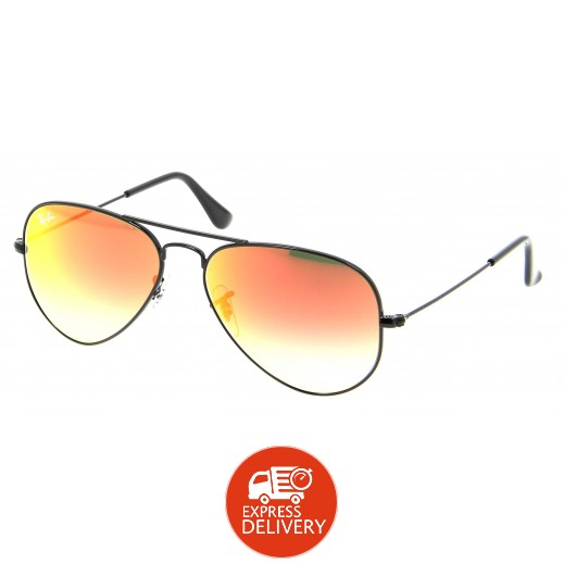 """راي بان – نظارة شمسية """"أفياتور"""" لكلا الجنسين موديل RBN 3025 002 4W أسود/ برتقالي مقاس 62 ملم"""