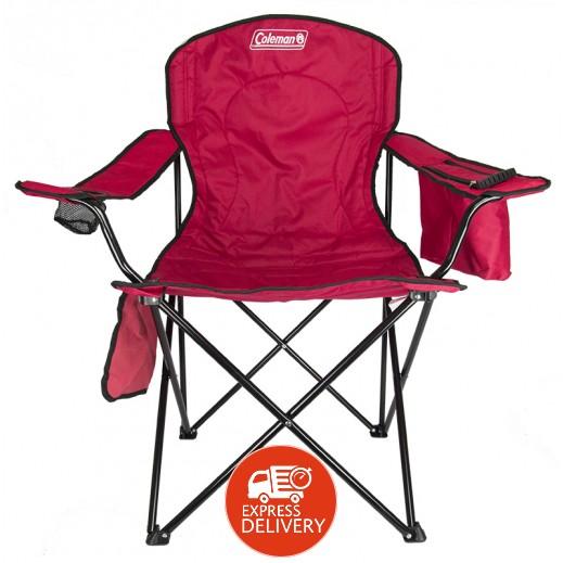 كولمان – كرسي بمسند ذراع وحافظة برودة – أحمر