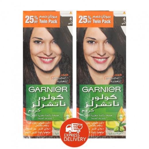 """غارنيية - صبغة طبيعية للشعر """" بنى غامق """" بزيت الزتون - 2 حبة"""