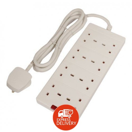Masterplug  وصلة اشتراك كهربائية 8 مقابس طول 2 متر بقوة 3000 واط – أبيض