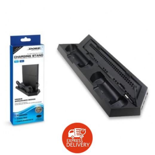 دوبي – قاعدة شحن وتبريد عمودية لجهاز بلاي ستيشن PS4 / PS4 Slim & 3 منافذ USB – أسود