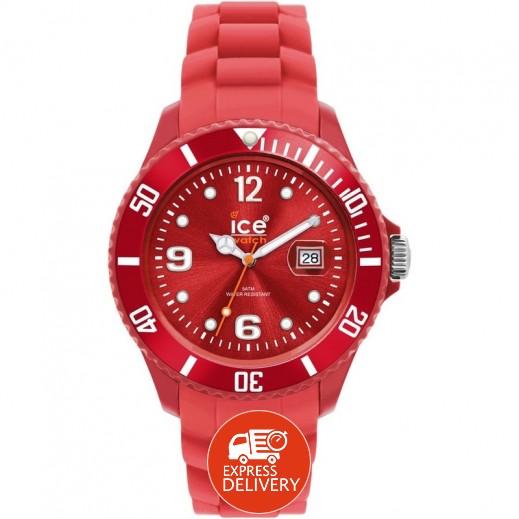 """آيس ووتش – ساعة يد """"سيلي وينتر"""" بعقارب وسوار سيليكون للرجال والسيدات – أحمر"""