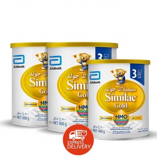 سيميلاك - حليب جولد للأطفال مرحلة 3 (من 1 حتى 3 سنوات) 2×800 جم + 400 جم مجاناً