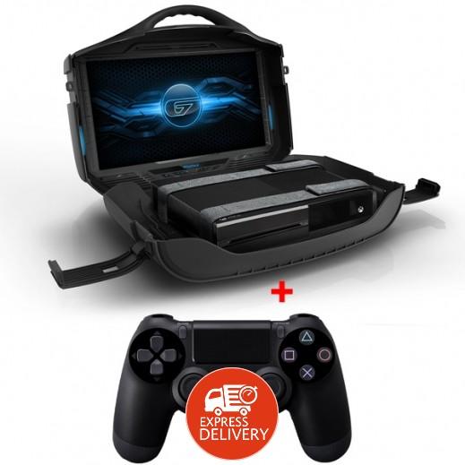 جهاز بلاي ستيشن 4 500 جيجابايت PAL + حقيبة شاشة شخصية GAEMS لالعاب الفيديو عرض HD بحجم 19 بوصة لاجهزة XBOX/PS3/PS4 +  يد التحكم اللاسلكية