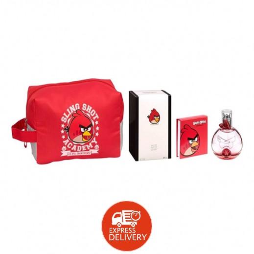 أنجري بيردس – طقم عطر EDP للأطفال 50 مل - أحمر + حقيبة الزينة + ميدالية بسلسلة