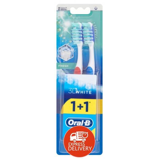 أورال بي - فرشاة أسنان 3D حجم وسط (عبوة 2 حبة)