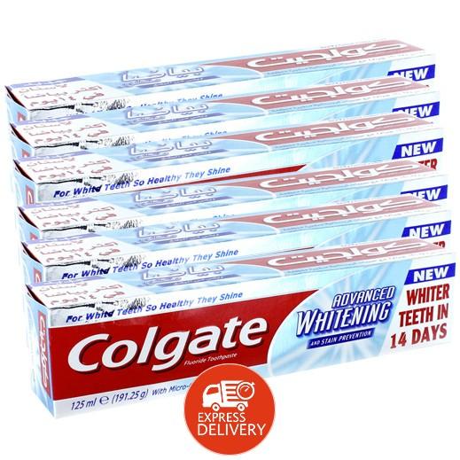 كولجيت – معجون أسنان أدفانسيد مبيض 125 مل ( 6 حبة ) - أسعار الجملة
