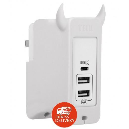 موماكس – شاحن 3 منافذ USB Type C – أبيض